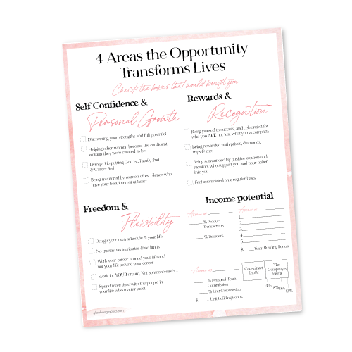 4 Areas the Opportunity Transforms Lives Marketing Plan Sheet