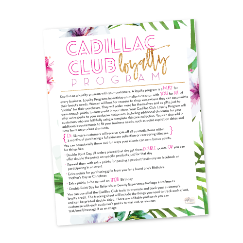 Cadillac Club Loyalty Reward Program Instructions