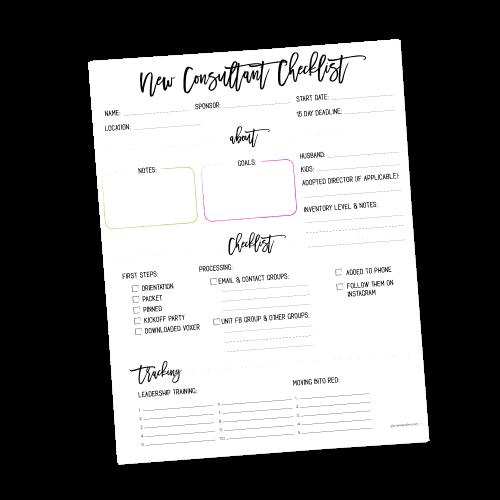 New Consultant Checklist – Director