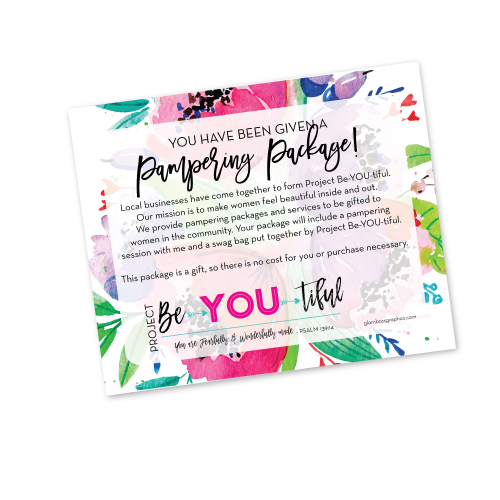 Project Be•YOU•tiful Pampering Package Texting Image