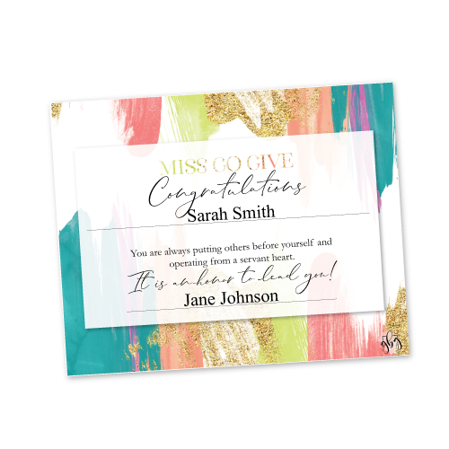 Recognition Certificate – Miss Go Give – Bright Multi Color
