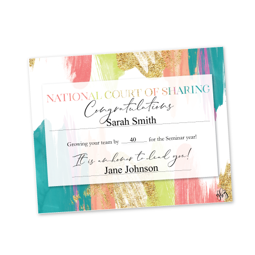 Recognition Certificate – National Court of Sharing – Bright Multi Color