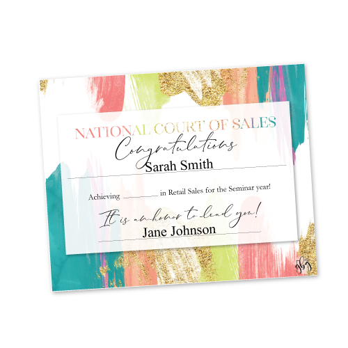 Recognition Certificate -National Court of Sales – Multi-color