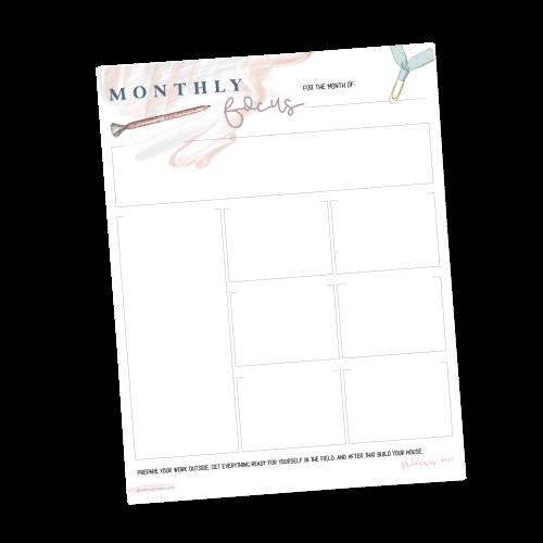 Monthly Focus Planner
