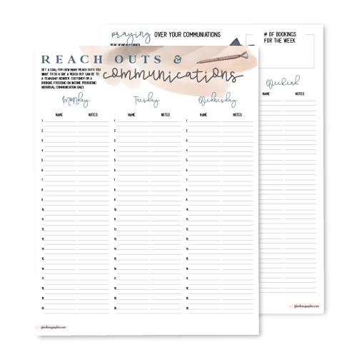 Reach Outs & Communication Weekly Planner
