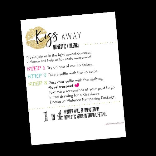Kiss Away Domestic Violence Lipstick Selfie Handout Cards